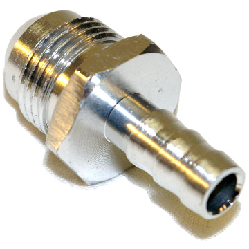 AN to Barbed Fitting Adaptor, -6 AN to 8mm Silver